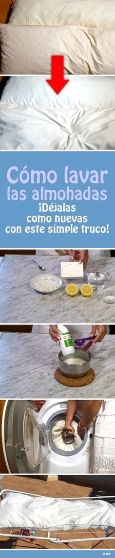 Cómo lavar las almohadas. ¡Déjalas como nuevas con este simple truco! #almohadas #lavar #lavadora #quitarmanchas #amarillo #DIY