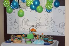 cute (and cheap!) ideas for monster party.  This is SO cute.  I wonder if I convince him this is a good theme?