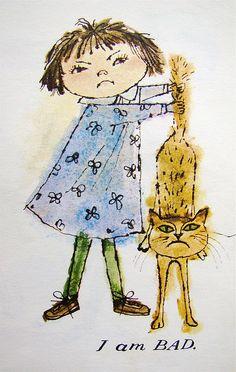 "I am bad.    From ""Karen's Opposites"" by Alice and Martin Provensen, 1963."