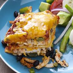 Stacked Enchilada Recipe from Taste of Home -- shared by Rebecca Pepsin of Longmont, Colorado Mexican Dishes, Mexican Food Recipes, Ethnic Recipes, Mexican Cooking, Carnitas, Taste Of Home, Salsa Verde, Quesadillas, Nachos