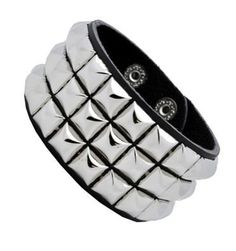 Leather Silver Stud Wristband 80s Gothic Punk Glam Emo by 2 Brothers -- Awesome products selected by Anna Churchill
