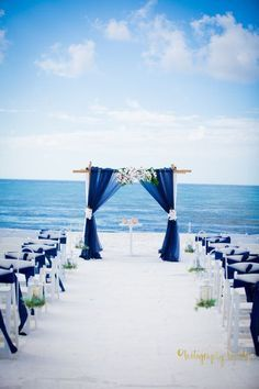 Royal Blue Cobalt Beach Weddings Wedding Ceremony Deocrs Summer