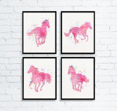 Watercolor Horse Art, Equestrian Girl Art, Girls Room Decor, Horse Painting, Western Girls Room, Baby Girl Nursery, Cowgirl Nursery, Pink