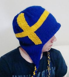Hand Knit Hat Mens Hat  Swedish Flag Hat in Blue & by earflaphats