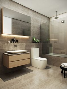 Bathroom on Behance Luxury Master Bathrooms, Modern Master Bathroom, Modern Bathroom Decor, Washroom Design, Bathroom Design Luxury, Home Room Design, Interior Design Kitchen, Contemporary Bathroom Lighting, Bathroom Design Inspiration