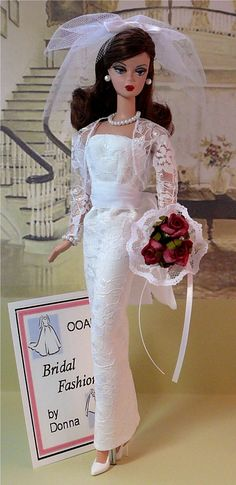 Bridal Fashion by Donna's Doll Designs for Barbie Barbie Bridal, Barbie Wedding Dress, Wedding Doll, Barbie Dress, Barbie Clothes, Barbie E Ken, Vintage Barbie Dolls, Barbie Princess, Barbie Wardrobe