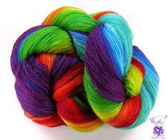 Gradient merino silk lace weight handpaited by VioletLynxDyeworks, $26.30