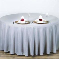Banquet Tables, Reception Table, Wedding Table, Round Tables, Tablecloth Sizes, Round Tablecloth, Tablecloths, Tablecloth Fabric, Silver Wedding Decorations