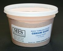 Cerium Oxide Rock Polish - Cerium Oxide rock tumbler polish is used for STEP 4 of the tumbling process. This is optical grade cerium oxide that produces a great polish. Works great on agate, jasper, quartz and petrified wood. Favored for obsidian, goldstone, and feldspar minerals such as moonstone, labradorite, sunstone and amazonite.    One pound shipped in a resealable plastic tub. $39.95 Per 1-Pound Container  Ships in a resealable tub