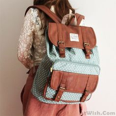 Wow~ Awesome Lovely Dot Print Cover Leisure Backpacks! It only $46.99 at www.AtWish.com! I like it so much<3<3!