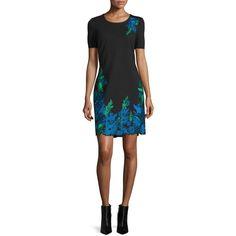 Elie Tahari Royce Floral-Embroidered Sheath Dress featuring polyvore women's fashion clothing dresses black scallop trim dress short sleeve dress embroidered flower dress round neck dress floral embroidered dress