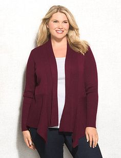 Plus Size Ribbed Detail Open Cardigan