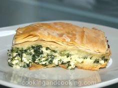 """TRY: """"Greek Spinach Pie or Spanakopita is a Greek style pie filled with spinach, ricotta cheese and feta cheese that will work as a side dish, appetizer or even a light lunch."""" ---puff pastry instead of phyllo dough though--- Vegetable Dishes, Vegetable Recipes, Vegetarian Recipes, Cooking Recipes, Healthy Recipes, Greek Spinach Pie, Spinach And Feta, Spinach Ricotta Pie, Moussaka"""