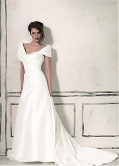 DELICATE TAFFETA PORTRAIT NECKLINE A-LINE WEDDING DRESS FORMAL PROM EVENING PARTY GOWN SEXY LADY LACE