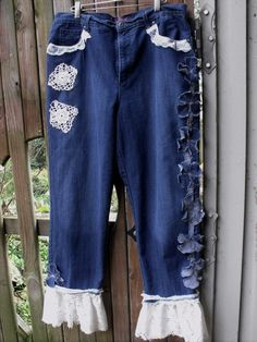 Junked Up Jeans/Lace and Vintage Crochet by SheerFab on Etsy