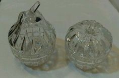 Beautiful Pair of Glass Condiment/Jelly Jars - Apple & Pear