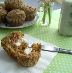 Garden Vegetable Muffins - 1/3 cup of veggies in EVERY muffin! Sub 1/2 cup apple sauce for the white sugar