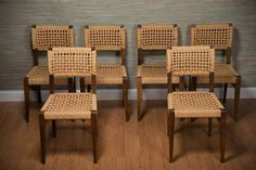 """Set of Six Vintage Wood and Rope Dining Chairs Wood Frame with Woven Rope Seats and Backs From Provence, Circa 1950s Seat:17.5""""H"""