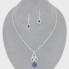 Elegant Bridal Wedding Prom SILVER & BLUE Costume Rhinestone Necklace Set #ChristinaCollection