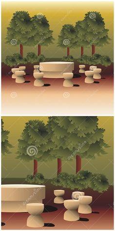 #Illustration resembling Constantin Brancusi's #Table of #Silence #sculpture from Targu Jiu city, #Romania