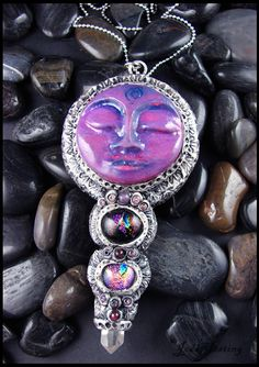 """""""Induja"""" a Moon Goddess pendant I made with polymer clay, glass, and leather. www.beadworx.com"""