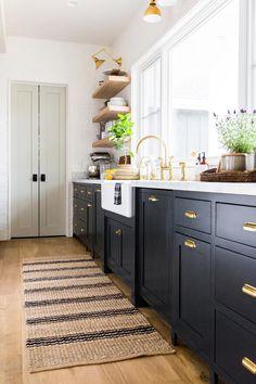 Jute Ticking Indigo Rug Indigo / 2 x 3 Black Kitchen Cabinets Indigo Jute Rug Ticking Home Decor Kitchen, Kitchen Interior, New Kitchen, Kitchen Rug, Kitchen Themes, Country Kitchen, Decorating Kitchen, Wooden Kitchen, Kitchen Layout