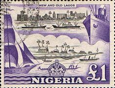 Nigeria 1953 SG 80 New and Old Lagos pound 1 Fine Used SG 80 Scott 91 Other Commonwealth stamps here