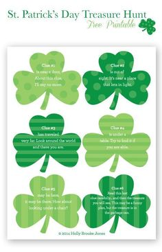 St. Patrick's Day treasure hunt - free printable shamrocks.