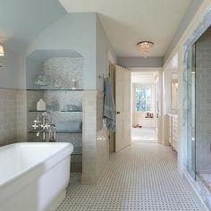 Beige Subway Tiles, Traditional, bathroom, Yunker Associates