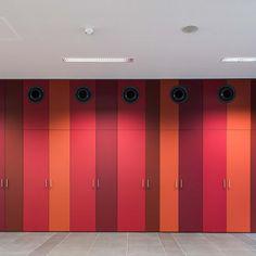 Berufsschule Embelgasse - FunderMax - for people who create. Building Facade, Locker Storage, Mirror, Create, Interior, Color, Furniture, People, Home Decor