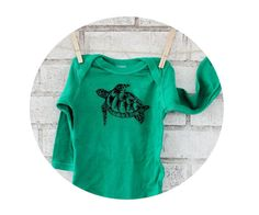 Long Sleeved Sea Turtle Baby Onepeice Bodysuit by CausticThreads