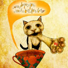 """""""Some days you reach out for love."""" #caturday There are days when you pawsitively need to reach out, but can't. What my #Coffee says to me May 16 - wrap your loving paws around a cup o' joe and a good friend! After which, the pair of you should BUY one of my creations and I'll donate 50% to #mentalhealth ! Details here: http://www.catsinthebag.com/What%20my%20coffee%20says.html (What my Coffee says to me is a daily, illustrated series created by Jennifer R. Cook)"""
