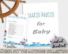 Wishes Baby Shower Wishes Nautical Baby Shower Wishes Baby Shower Nautical Wishes Blue Red prints, digital print, pdf jpg, printable DHTQT #babyshowerparty #babyshowerinvites