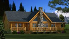 Adair Front Elevation - Southland Log Homes