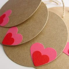 Kraft Tags with Red on Pink Heart Set of by youngheartslove, $4.25