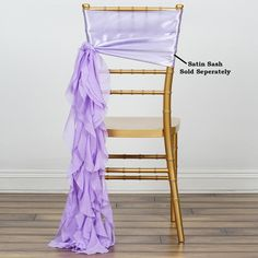 Chiffon Lavender Curly Willow Chair Sashes For Catering Wedding Party Decorations You are in the right place about wedding catering business Here we offer you the most beautiful pictures about the wed Wedding Chair Sashes, Bow Tie Wedding, Wedding Chairs, Purple Wedding, Spring Wedding, Wedding Favors, Lavender Wedding Decorations, Discount Party Supplies, Colorful Chairs