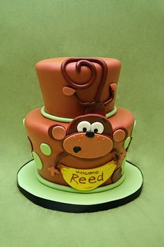 adorable Monkey Baby Shower Cake