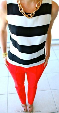 I love the striped top and red pants. I'm interested in trying bright pants but I'm not sure what to wear with them. Work Fashion, Cute Fashion, Womens Fashion, Fashion Tag, 1950s Fashion, Ladies Fashion, Fashion Trends, Fashion Styles, Dress Fashion