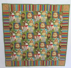 Lions, tigers, monkeys, elephants and giraffes are ready to warm your heart. These preprinted jungle babies would be so cute in your nursery. The colors are gender neutral. The pieced back makes this like two quilts in one.  I used 100% cotton fabric and 100% cotton batting. This quilt will get softer with use. This quilt measures approximately 37 x 37. The quilt has been washed before sending your quilt to you so it will already have the crinkly goodness that is desired in a quilt.  Easy to…