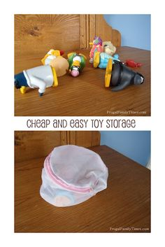 Cheap and easy toy storage using zippered laundry baskets -- storing toys in the ottomans? esp. downstairs