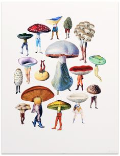 Buy Pixies from The Calm Gallery: Pixies is a lovely little print produced from an original collage by Amy Ross. Amy's work is fueled by a lifelong love of folklore and a deep reverence for the natura Mushroom Art, Grafik Design, Art History, History Books, Graphic, Collage Art, Art Inspo, Art Reference, Cool Art