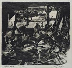 IESPIEDGRAFIKA Oļģerts Ābelīte. Klusā daba. Kauguri. 1962. Papīrs, kokgriezums.
