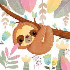 Ultra-book de elenlescoat Portfolio - My best animal list Cute Animal Illustration, Cute Animal Drawings, Kawaii Drawings, Cute Drawings, Animal Illustrations, Baby Sloth, Cute Sloth, Sloth Drawing, Illustration Mignonne