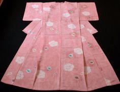 Japanese Vintage Kimono, SILK, Pink, Good condition, SHIBORI, Flower P012368    eBay