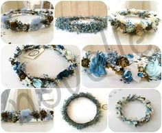 collage CORONAS  AZUL marca agua Blue Flowers, Blue Nails, Girls Dresses, Wedding Gowns, Floral Crowns, Hair Style, Headpieces, Water, Hair