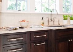 Town & Country Kitchen and Bath - kitchens - subway tiles, backsplash, dark, coffee stained, kitchen cabinets, brushed nickel, bridge, faucet, chocolate brown cabinets, chocolate brown kitchen cabinets,