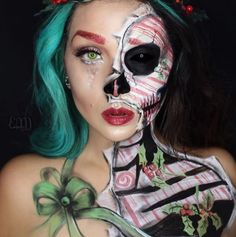 Creepy Cool Halloween Makeup Ideas - She's seriously as well! She put a darkspin on with this yuletide look, and she's a too! This lady used with a touch of for her half and half hair that perfectly complements her body paint. Christmas Makeup Look, Cool Halloween Makeup, Holiday Makeup, Halloween Make Up, Christmas Hair, Halloween Costumes, Dark Christmas, Winter Makeup, Halloween Season