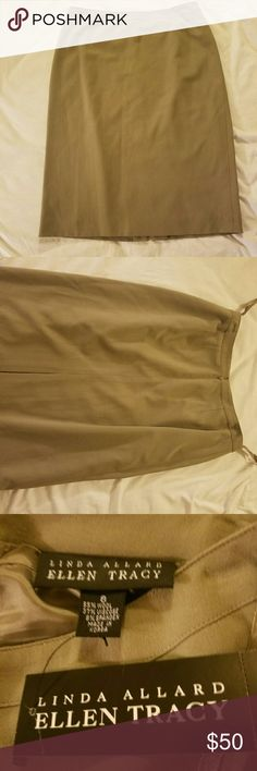 "women's skirt beautiful women's skirt brand new never worn it's 24"" from top to bottom the color is khaki its 55% wool 37% viscose 8% spandex Ellen Tracy Skirts"