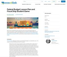 Federal Budget Lesson Plan and Fiscal Ship Student Game Lesson Plan for - Grade Student Games, Federal Budget, Professional Development, Economics, Budgeting, Teacher, Ship, How To Plan, This Or That Questions