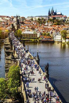 Busy Charles Bridge, Prague Czech Republic